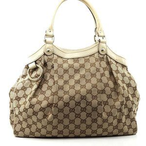 Auth Gucci Gg Canvas Handbag #2695G11